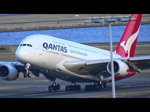 Qantas Airways A380-800 start-up, taxi and takeoff I Sydney Airport 17/8/15