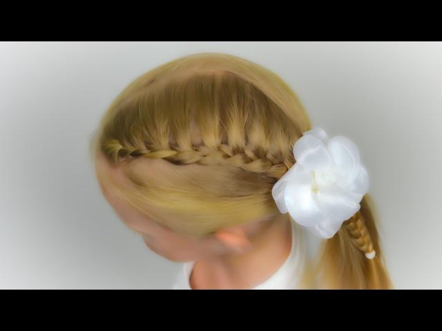 1 СЕНТЯБРЯ! Греческая коса и бант. Прическа в садик (школу) за 5 минут 9