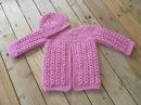 Chaquetita bebe punto trigo tejida a crochet parte 1