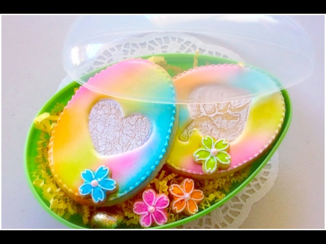 Airbrushed Easter egg cookies.