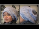 зимняя женская шапка, узор соты, вязание спицами