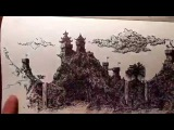 Pagoda pen and ink speed drawing #1