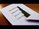 Very Easy How To Draw 3D Hole Stairs for Kids Anamorphic Illusion 3D Trick Art on paper