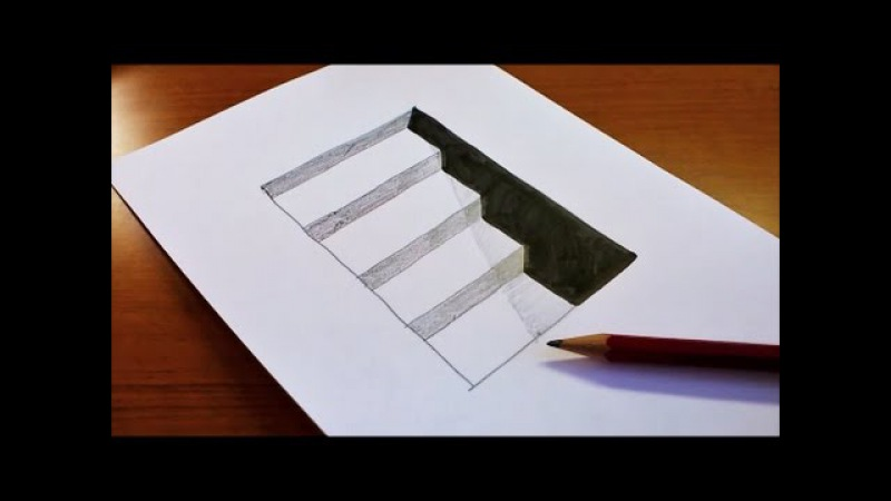 Very Easy!! How To Draw 3D Hole Stairs for Kids - Anamorphic Illusion - 3D Trick Art on paper