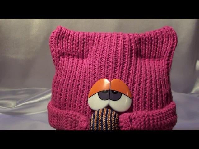 DIY Интерьерная вязаная подушка Кот из шарфа Interior knitted cushion of cat scarf