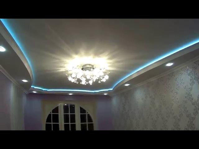 Зал ремонт, монтаж двухуровневого подвесного потолка скрытая светодиодная LED п...