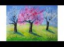Как нарисовать ЦВЕТУЩИЙ САД (весна) гуашью Erich Krause | Art School