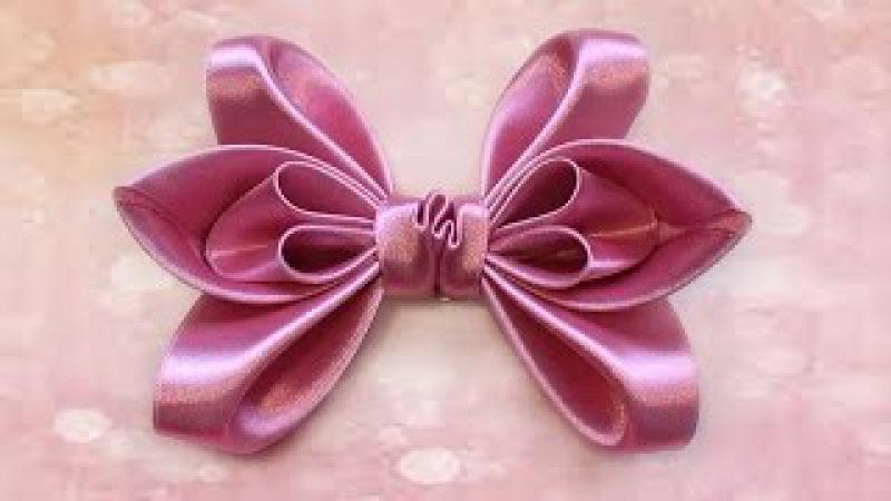 Как сделать бантик из ленты для волос. How to make a hair bow