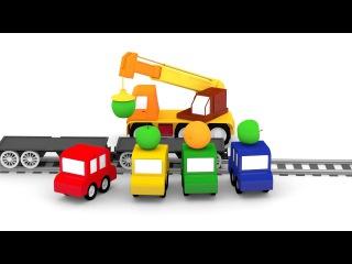 Dessin animé: 4 voitures colorées 4voiturescolorées. Apprendre les FRUITS. Vidéo éducative