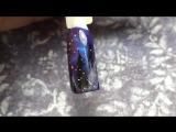 Северное сияние на ногтях. Зимний дизайн ногтей, Магнитные гель лаки кошачий глаз. Рисунок зима