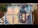 Акварель Рисуем новогодний фонарь Watercolor christmas card