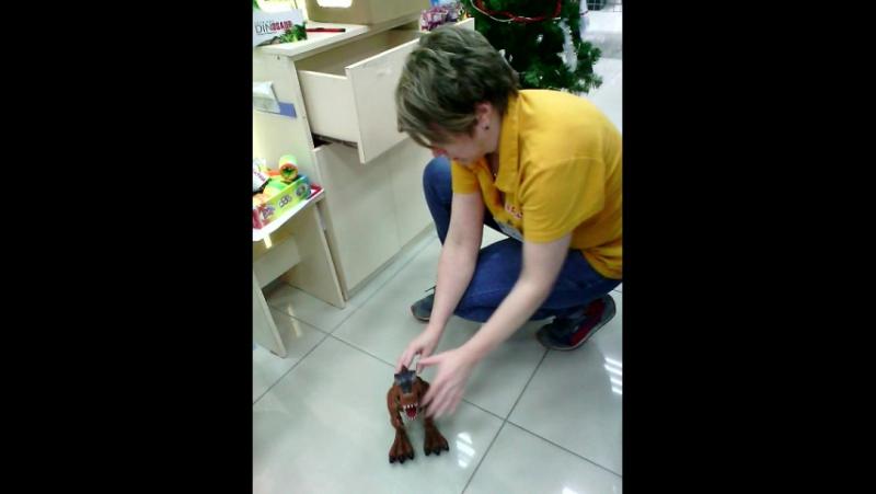 Детки нашмагазин продавец Юлия проверяет игрушку динозавр робот нашимпорт