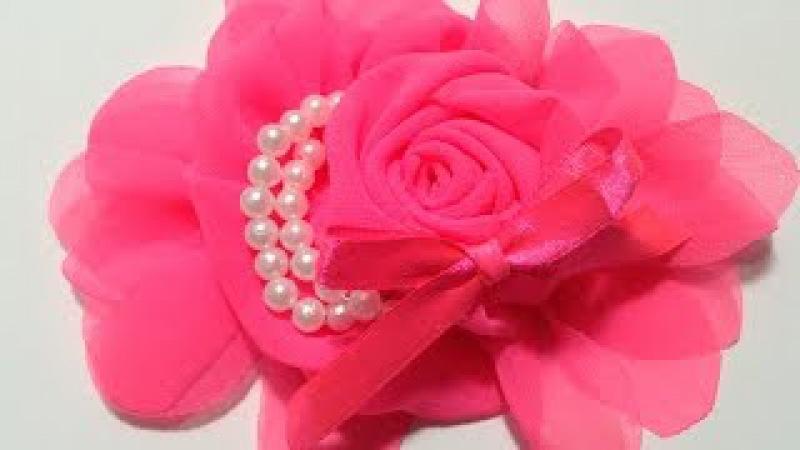 Paso a paso rosa de tela shifon con perlas VIDEO No. 300
