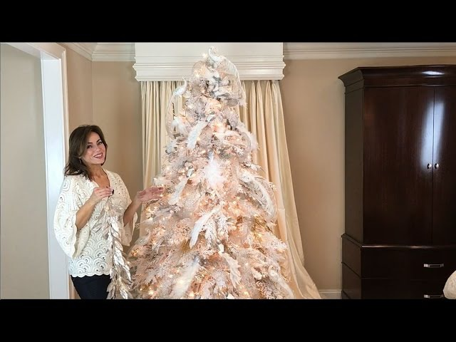 How to Decorate a White Flocked Christmas Tree (Full Length)