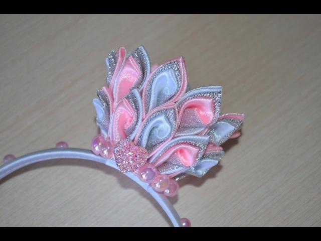 Корона Мастер класс ободок для волос корона канзаши DIY handmade tutorial crown accessory