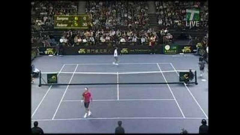 4 Aces in a row by Federer against Sampras who reacts funny