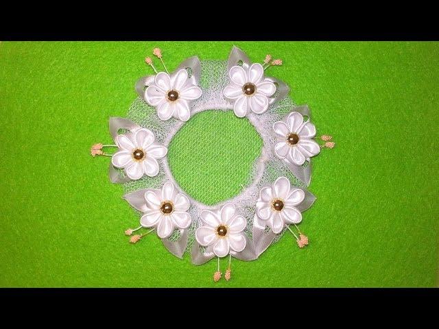 Сеточка для волос с цветами в технике канзаши