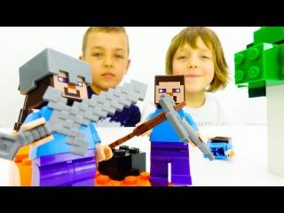 Игры для детей: Майнкрафт лего. Видео для мальчиков. ИгроБой Адриан и Глеб играют