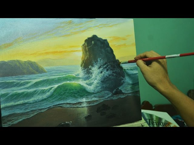 Acrylic Seascape Painting Tutorial - Sunrise Beach and Crashing Waves by JMLisondra