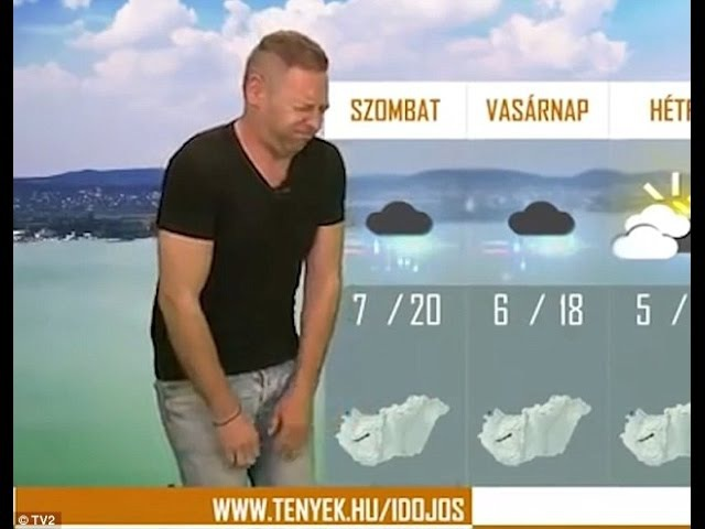Szilard Horvath antics moments in Hungarian TV channel weather forecasts