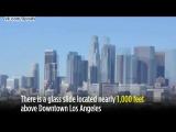 Стеклянная горка в стене в небоскрёбе на высоте 300 метров, Лос-Анджелес / Glass slide Skyslide 300 meters in Los Angeles
