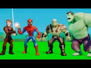 Мультик игра для детей Человек Паук,Халк,Дракс и Люк Скайуокер,машинки ТАЧКИ Дисней Пиксар
