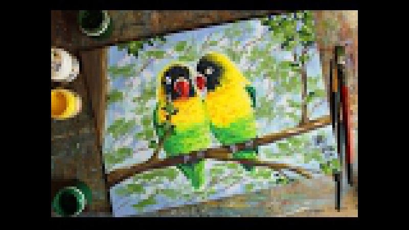 Открытый вебинар, рисуем гуашью картину Влюбленные птички!