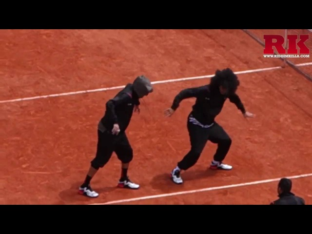 Les Twins dancing on tennis stadium at Paris