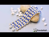 66 How to Make a Handmade Blue Seed Bead Stitch Wide Bracelet with Yellow Pearl Beads