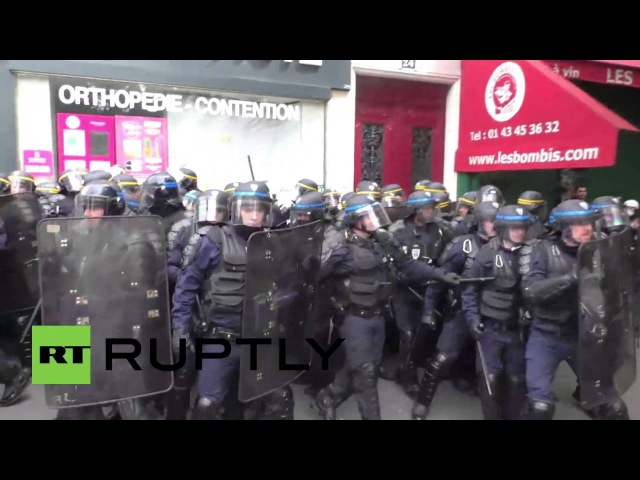 France Riot police and protesters clash at Paris labour reform demo