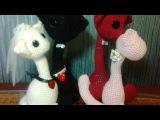 Валентинка, вязание игрушек крючком, котопарочка, ч.1