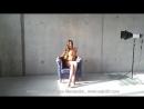 Model Saju90, Photoshoot on blue chair, nude (2013)