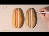 Illusion art Which delicious looking hot dog is real
