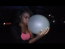 Balloon Boy - Girl blowing Clear 36 inch Qualatex balloon
