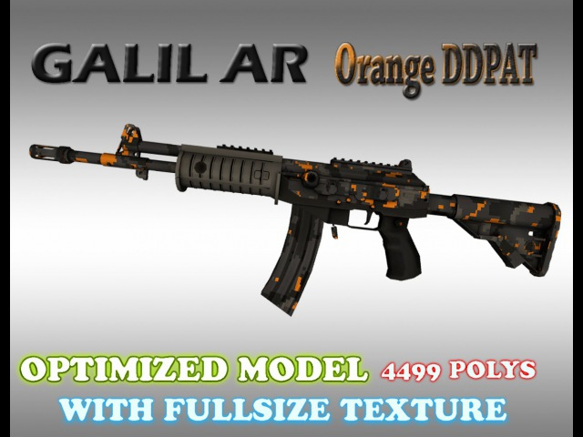 CSGO Galil AR Orange DDPAT HD skin for CS 1.6
