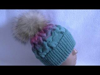 Вязание шапки с косами градиентом