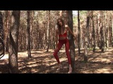 Giant Tall Girl high heels 6.9 feet lift and carry a little girl in the woods