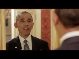 Обама перед зеркалом поет - Obama sings in front of a mirror