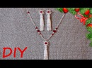 Сотуар и серьги-кисточки из бисера Рябина в снегу. Tassel Earrings and Necklace Snowflakes.