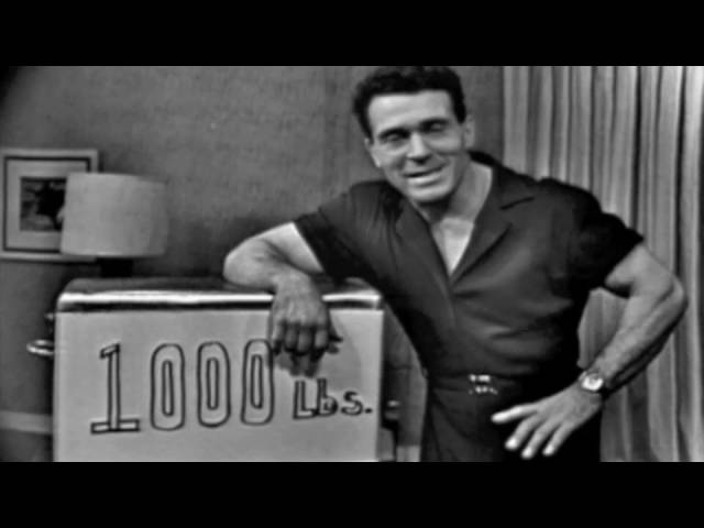 Jack Lalanne lifts 1000 pounds on his show