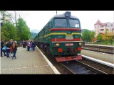 Поезд Рахов-Киев виды из окна, звук