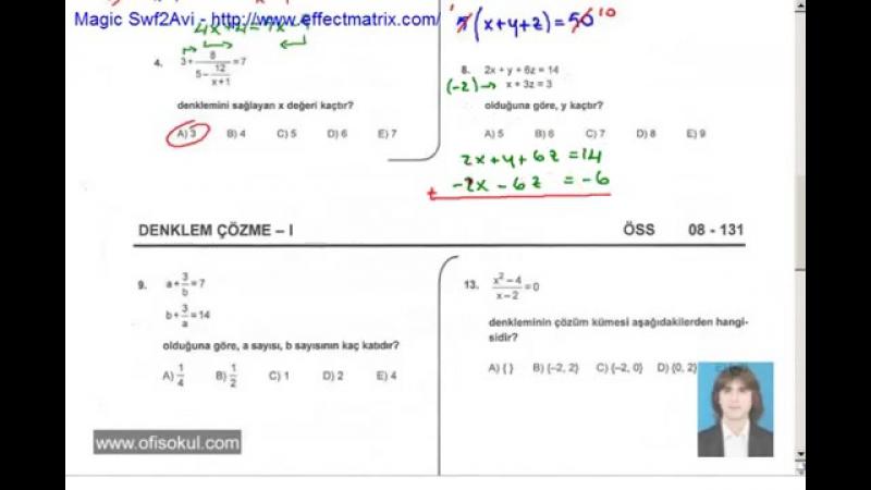 35-Denklem Çözme 1 - Matematik Soru Çözme Seti - KPSS - YGS - LYS