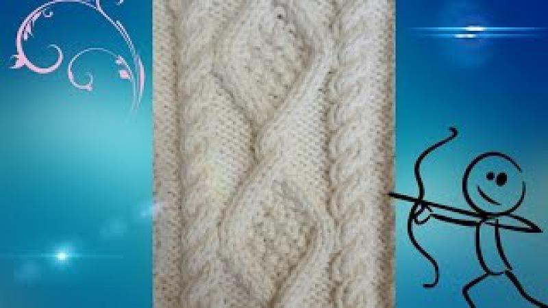 Красивый и простой узор из аранов и жгутов, аран шириной в 22 петли.