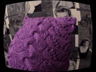 Ажурная весенняя шапка с ушками.Вязание спицами. Часть 1