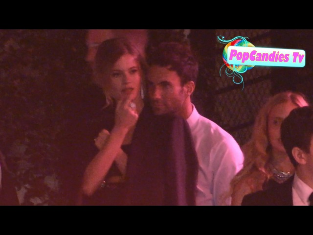 Adam Levine Behati Prinsloo snuggle while departing CAA Party in Sunset Tower WeHo