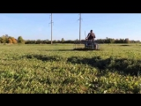 Мини трактор из мотоблока с граблями (осень)