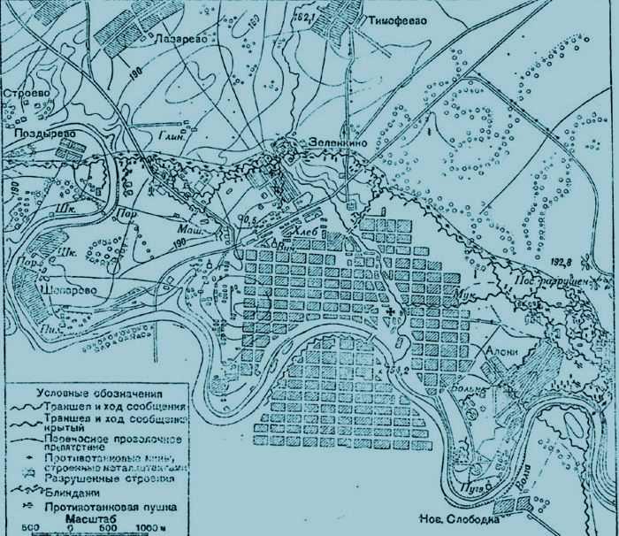 Схема подготовки немцев к обороне г. Ржева