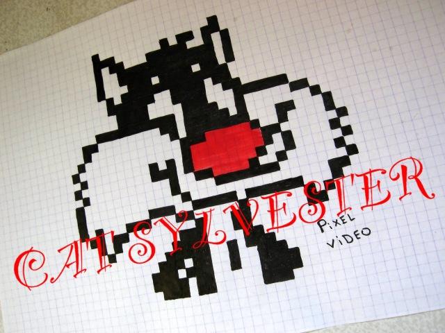 РИСУНКИ ПО КЛЕТОЧКАМ КОТ СИЛЬВЕСТР ( Handmade Pixel Art Cat Sylvester )