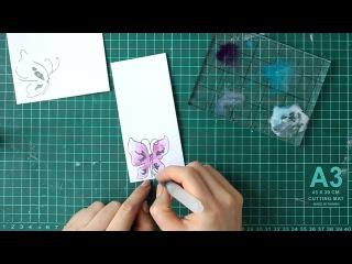 Мастер-класс открытки с использованием трафарета и раскрашиванием спреями