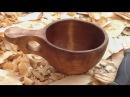 Making Kuksa from birch Изготовление Куксы из березы